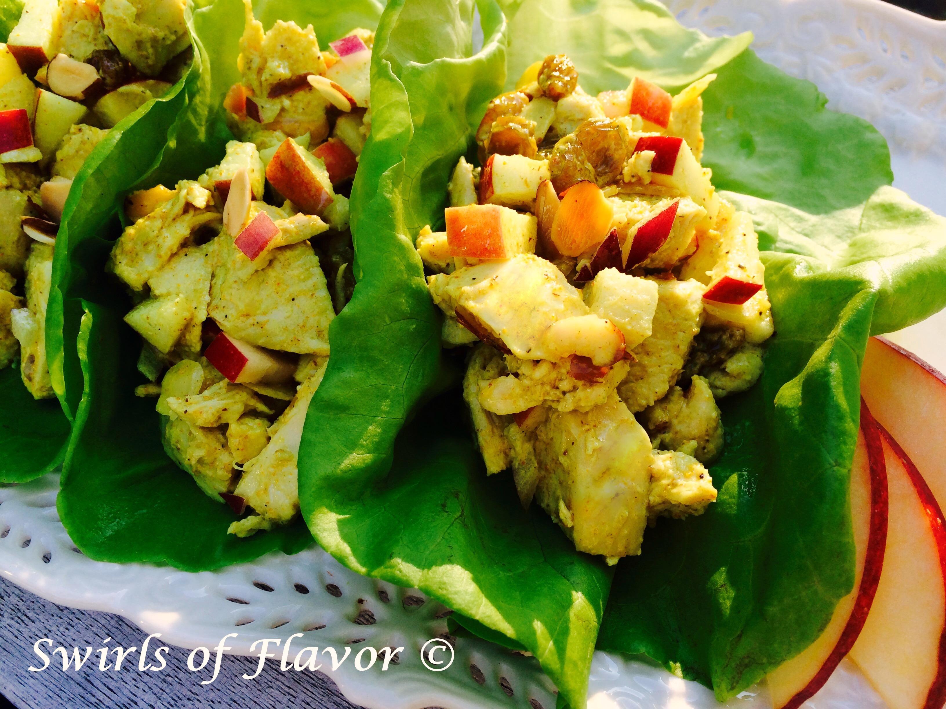 Curried Chicken Salad Lettuce Wraps - Swirls of Flavor
