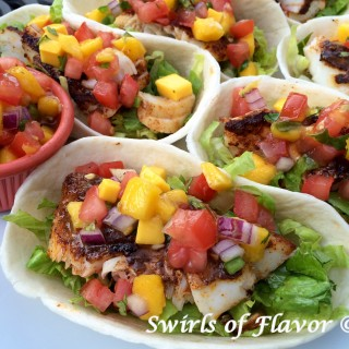 Fish Tacos With Mango Pico De Gallo Close-up