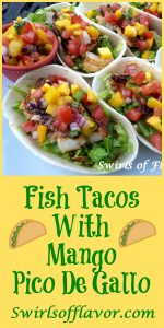 It's Taco Tuesday! Season and grill your favorite fish, top with a fresh Mango Pico De Gallo and your Fish Tacos will be bursting with tropical flavors! fish | tacos | taco Tuesday | mango | pico de gallo