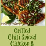 grilled spiced chicken with gremolata and text overlay
