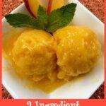 Mango sorbet in white dish