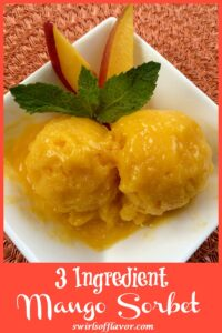 Mango sorbet in white dish