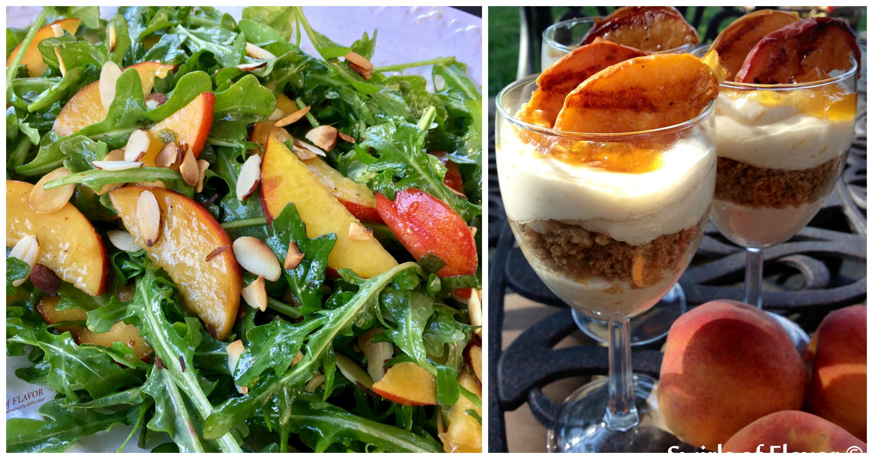 Peach Arugula Salad and Grilled Peach Cheesecake Parfaits