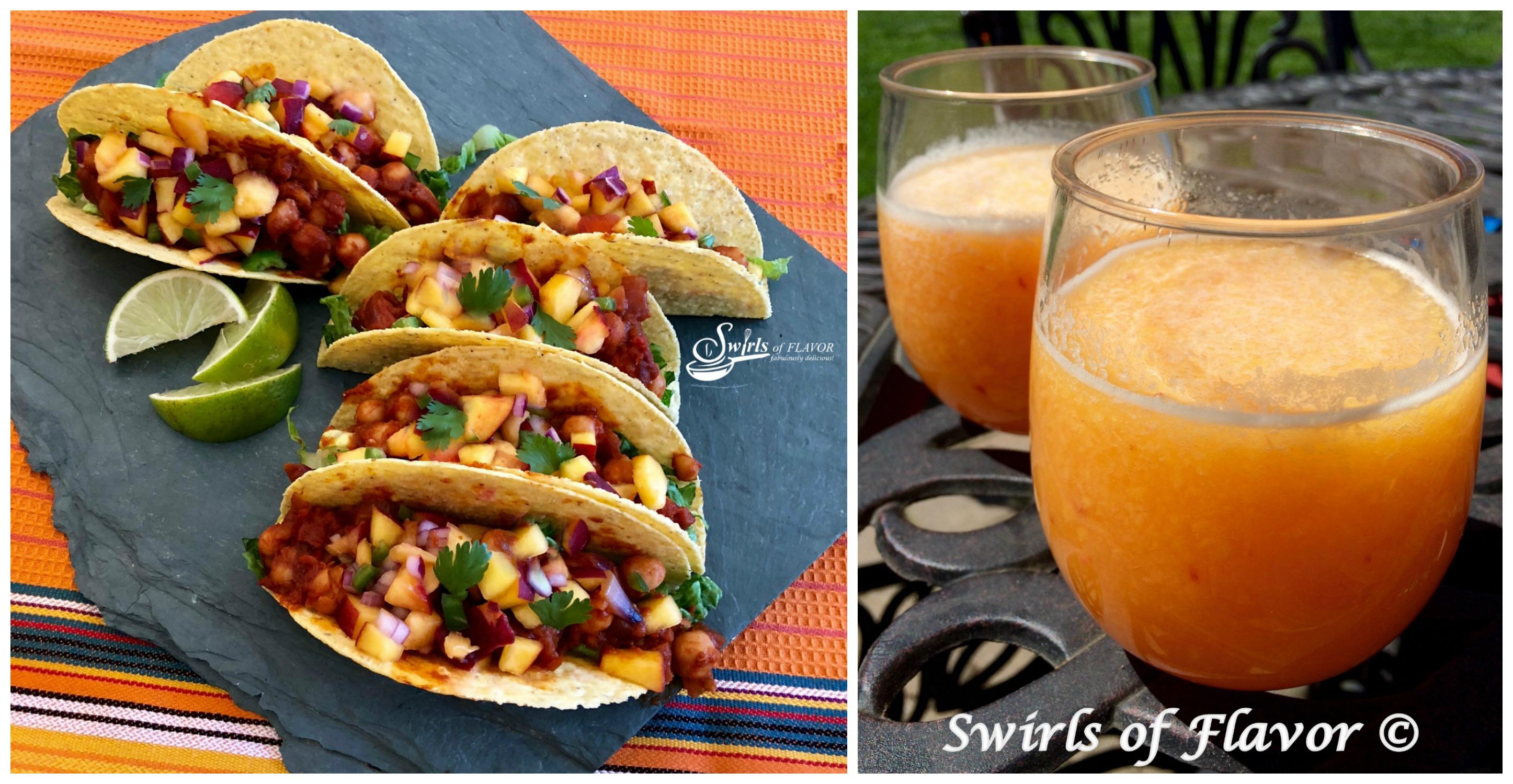 Vegan Tacos With Peach Salsa and Peach Bellini Slushy