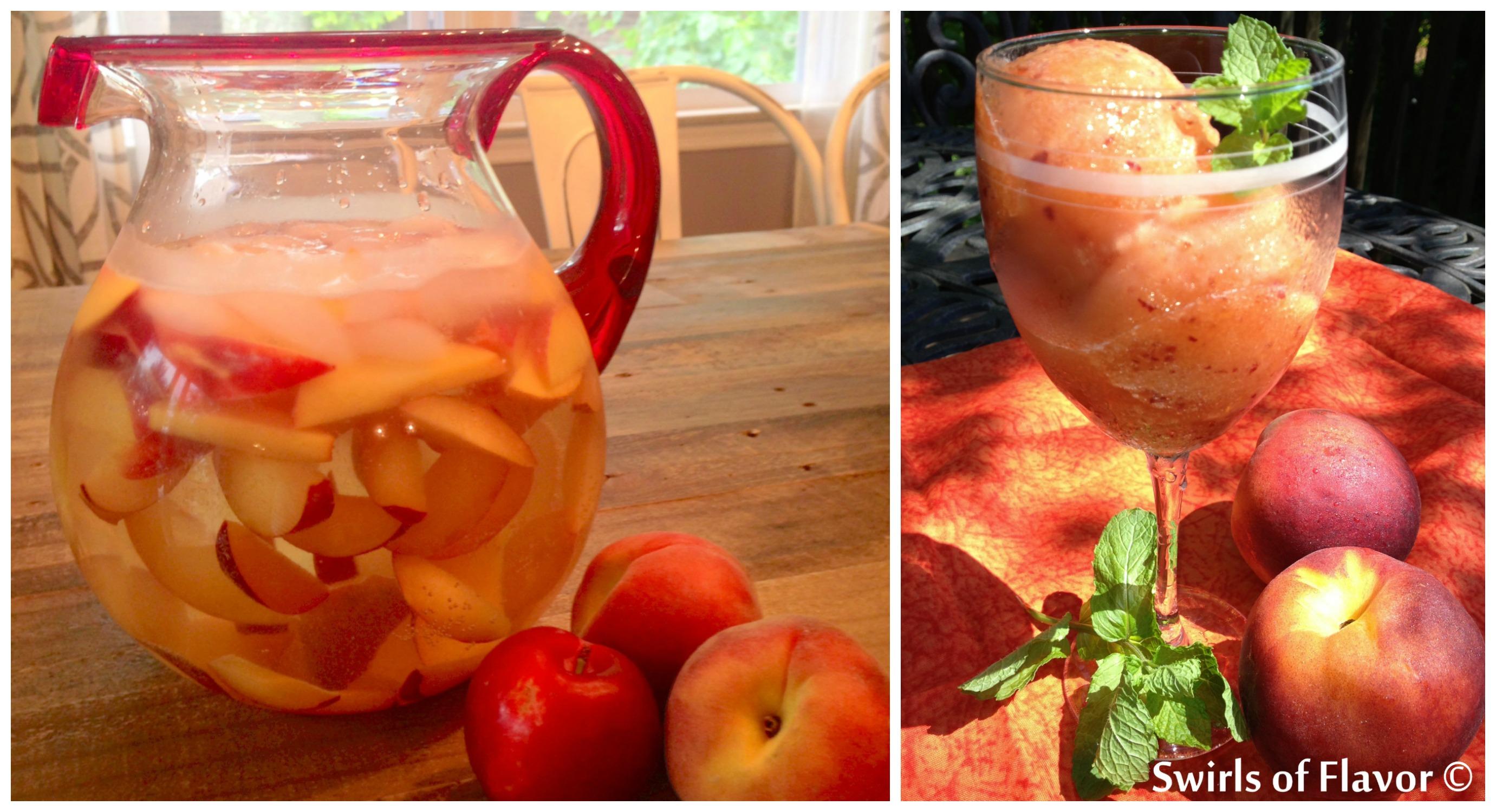 Peach Sangria and Peach Rum Lemonade Sorbet