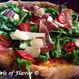 Grilled Proscuitto Parmesan & Arugula Salad Pizza