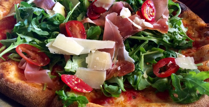 Grilled Proscuitto Parmesan & Arugula Salad Pizza