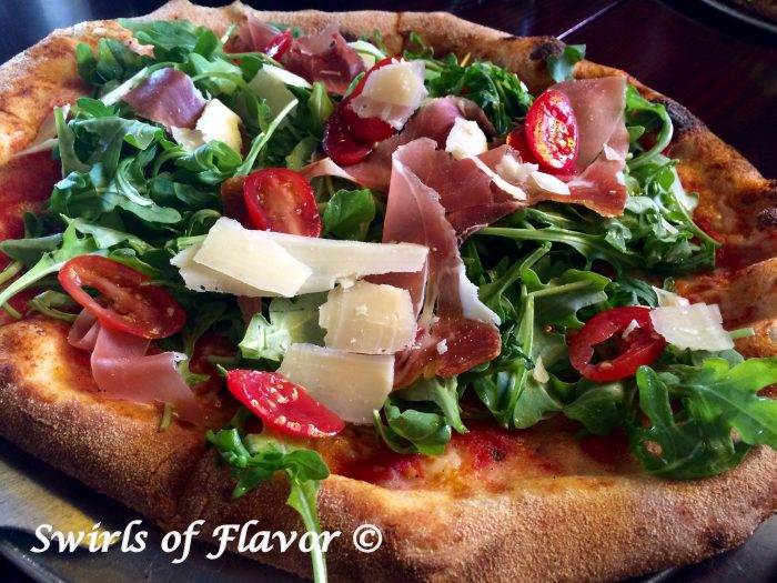 Proscuitto Parmesan & Arugual Pizza angled