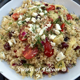 Mediterranean Quinoa Salad With Feta & Dill is brimming with artichoke hearts, kalamata olives, dill and creamy feta cheese, the fresh flavors of Greece.