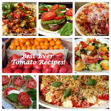 When summer is filled with flavorful juicy tomatoes it's time to make your Best Ever Tomato Recipes! Put them on chicken, over quinoa, in a vegetable salad, on top of a grilled portobello mushroom and, of course, with pasta! tomato | grilling | bake | salad | vegetarain | chicken | quinoa
