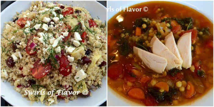 Feta Quinoa and Quinoa lentil broth Bowl