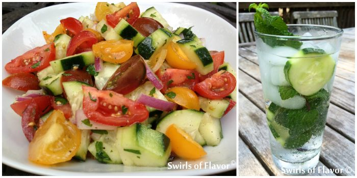 Tomato Cucumber Salad And Vodka Mint Refresher