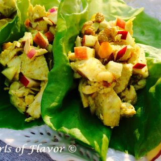 chicken salad in lettuce leaves