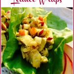 Chicken salad lettuce wraps with sliced apples and text overlay