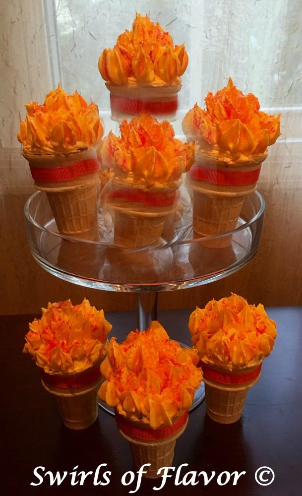 the kids will love making, and eating, these Brownie cones that resemble the olympic torch while watching the opening ceremony!