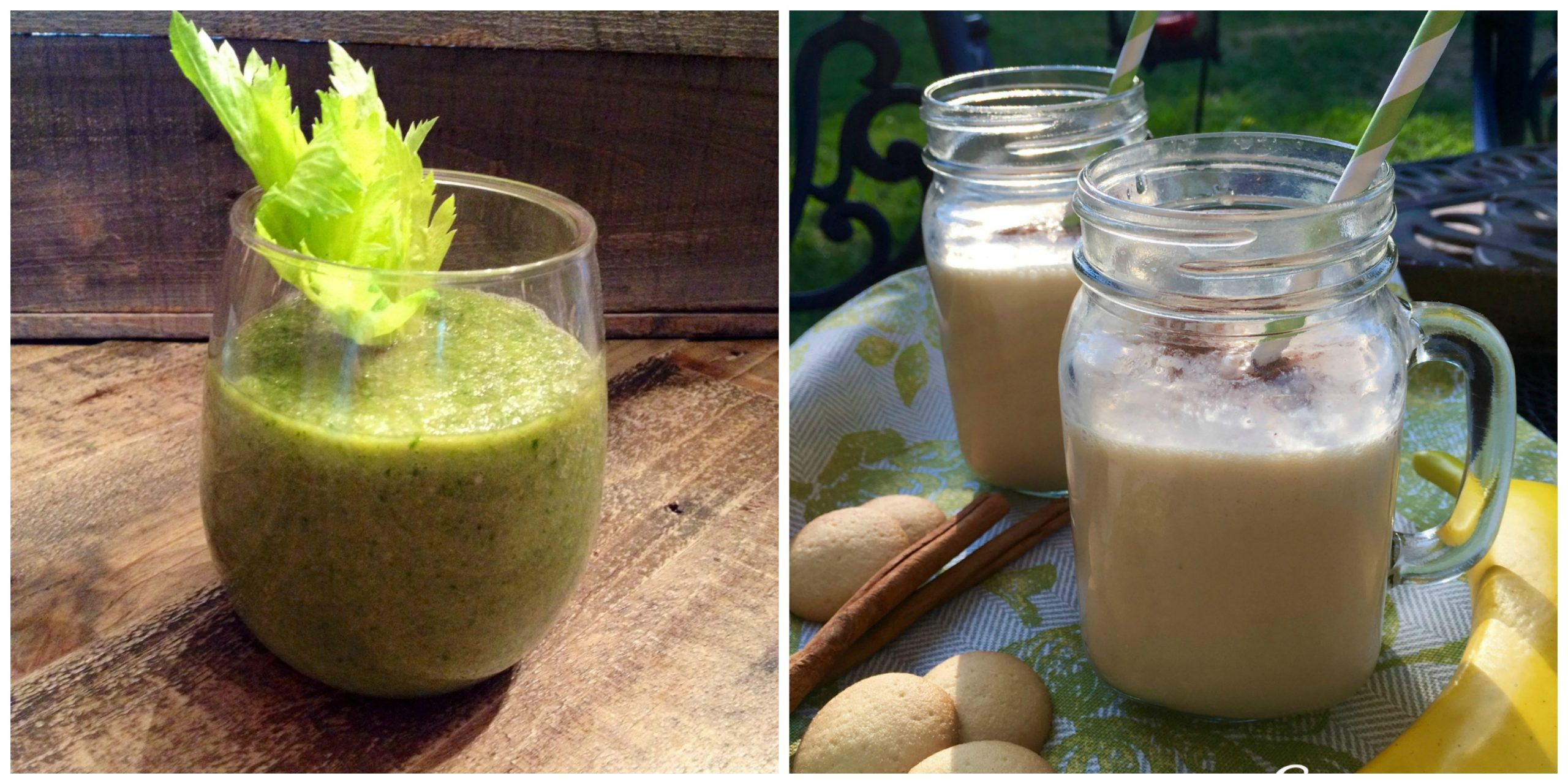 green tea smoothie and banana cream pie smoothie