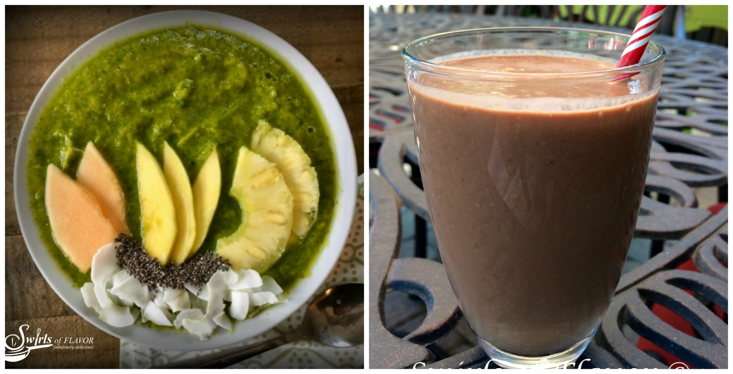tropical smoothie bowl and chocolate peanut butter smoothie