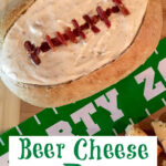 cheese dip in bread bowl with text overlay