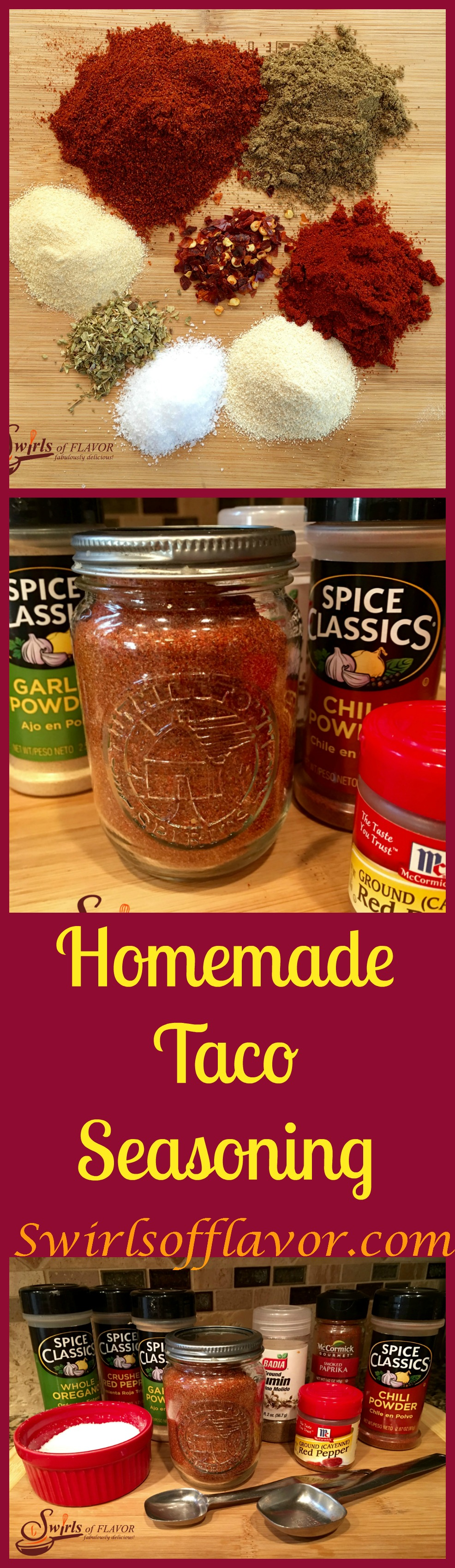 Homemade Taco Seasoning is an easy recipe made with basic spices for just pennies. You'll love being able to adjust the spice level and control the salt and make this easy taco seasoning recipe in batches. Perfect for gift giving too! #tacoseasoning #homemade #homemadeseasoning #easyrecipe #moneysaving #foodgifts #homemadetacoseasoning #tacoseasoningrecipe #easytacoseasoning #swirlsofflavor