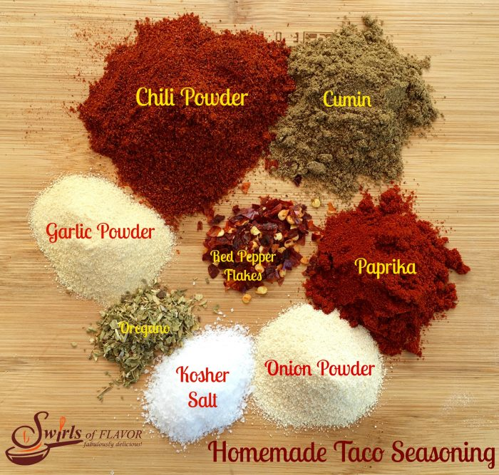 Homemade Taco Seasoning is an easy recipe made with basic spices for just pennies. You'll love being able to adjust the spice level and control the salt and make this easy taco seasoning recipe in batches. Perfect for gift giving too! #tacoseasoning #homemade #homemadeseasoning #easyrecipe #moneysaving #foodgift #swirlsofflavor