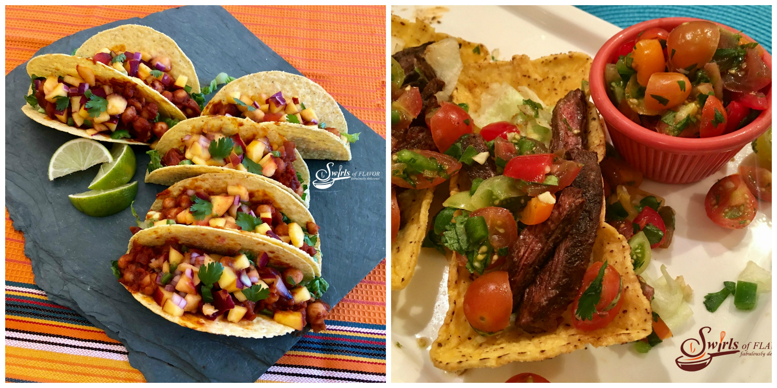 Vegan Chickpea Tacos and Spiced Skirt Steak Tacos