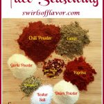 spices for homemade taco seasoning with text overlay