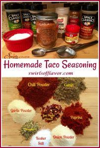 spices in jars and labeld spices for homemade taco seasoning with text overlay