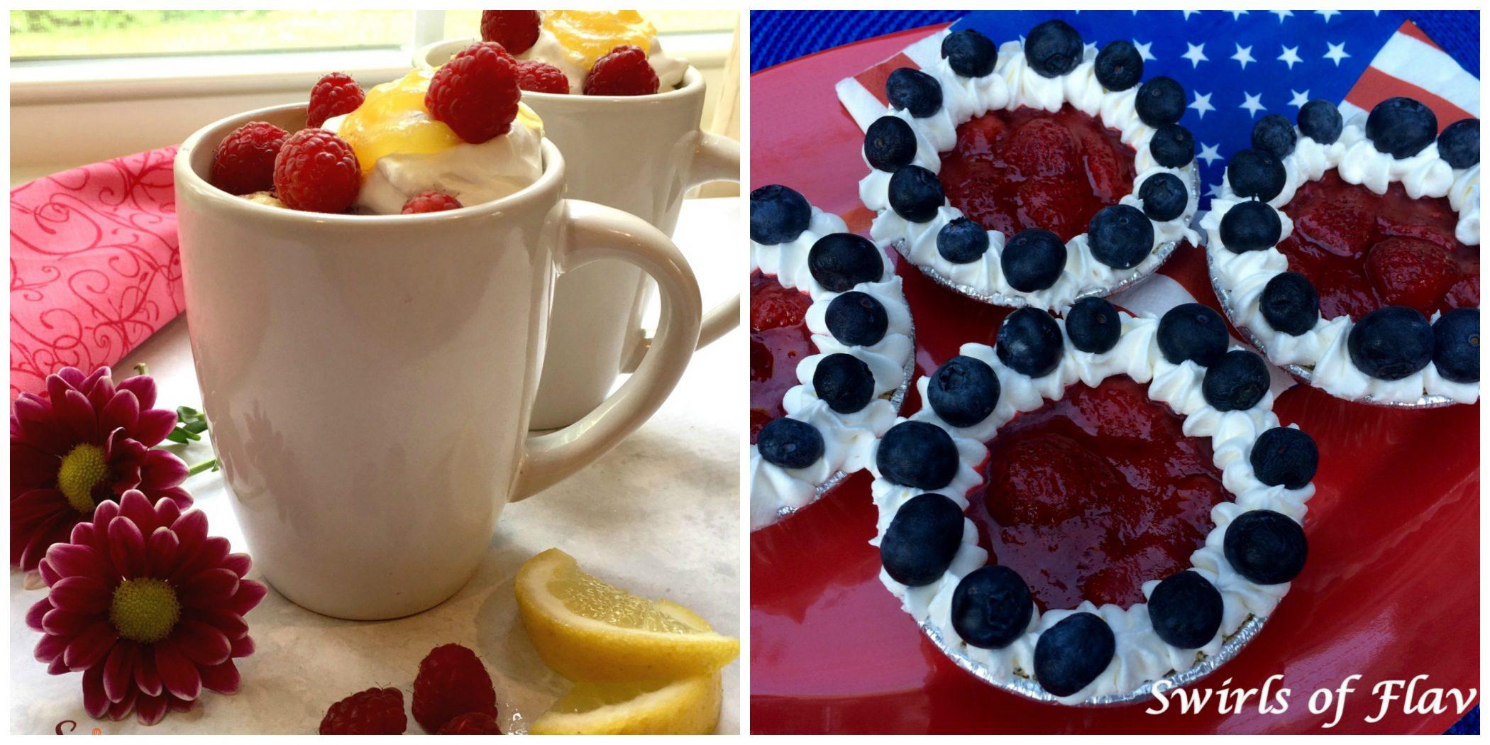 Raspberry Lemon Mug Cake and Berry Tartlets
