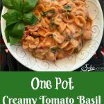 One Pot Creamy Tomato Basil Pasta is an easy recipe that will soon be a family favorite. Our one pot pasta recipe makes it's own velvety tomato sauce and gets it's creaminess from a secret ingredient! Just stir the ingredients together in one pot, bring to a boil and cook until the pasta is al dente. Stir in arugula, basil and the secret ingredient, cream cheese, and serve!