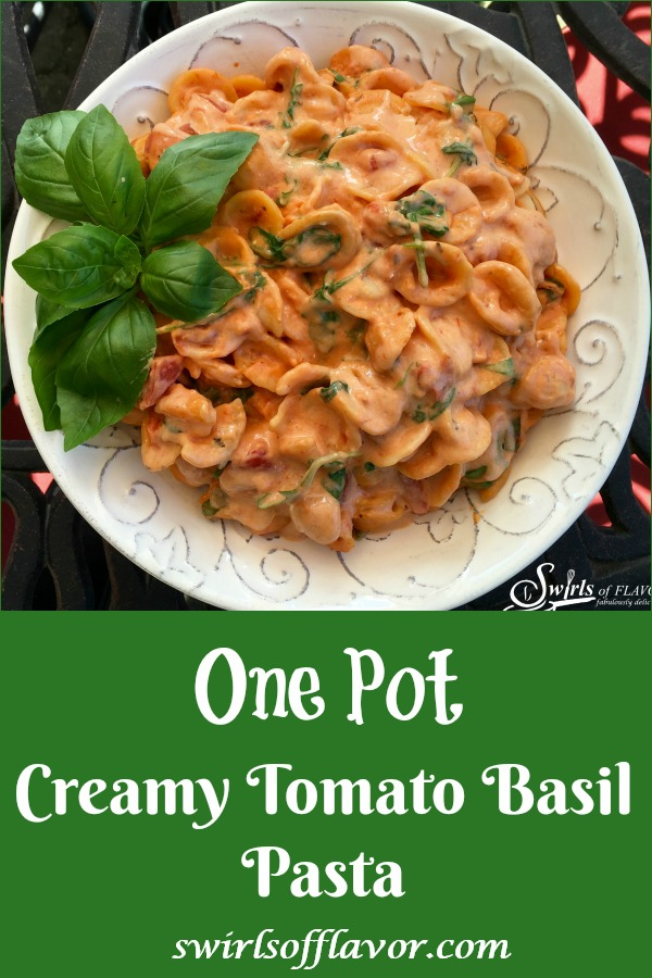 One Pot Creamy Tomato Basil Pasta is an easy recipe thatwill soon be a family favorite. Our one pot pasta recipe makes it's own velvety tomato sauce and gets it's creaminess from a secret ingredient! Just stir the ingredients together in one pot, bring to a boil and cook until the pasta is al dente. Stir in arugula, basil andthe secret ingredient, cream cheese, and serve!#onepot #onepotpasta #creamytomatopasta #easyrecipe #dinner #pasta #entertaining #swirlsofflavor