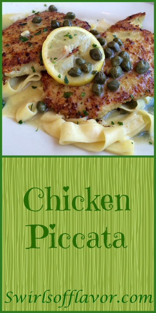 Chicken Piccata, tender thin chicken breasts in a light lemon sauce with tangy capers, is a classic dish that every cook needs to have in their recipe line up! easy   recipe   dinner   chicken   Italian   classic   lemon   capers   recipe   #swirlsofflavor