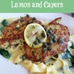 chicken ith lemon and capers and text overlay