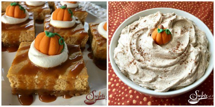 Pumpkin Cheesecake Bars and Pumpkin Spice Buttercream Frosting