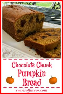 Chocolate Chunk Pumpkin Bread is an easy recipe for a flavorful quick bread that combines pumpkin spice and pumpkin puree to make a moist pumpkin bread.