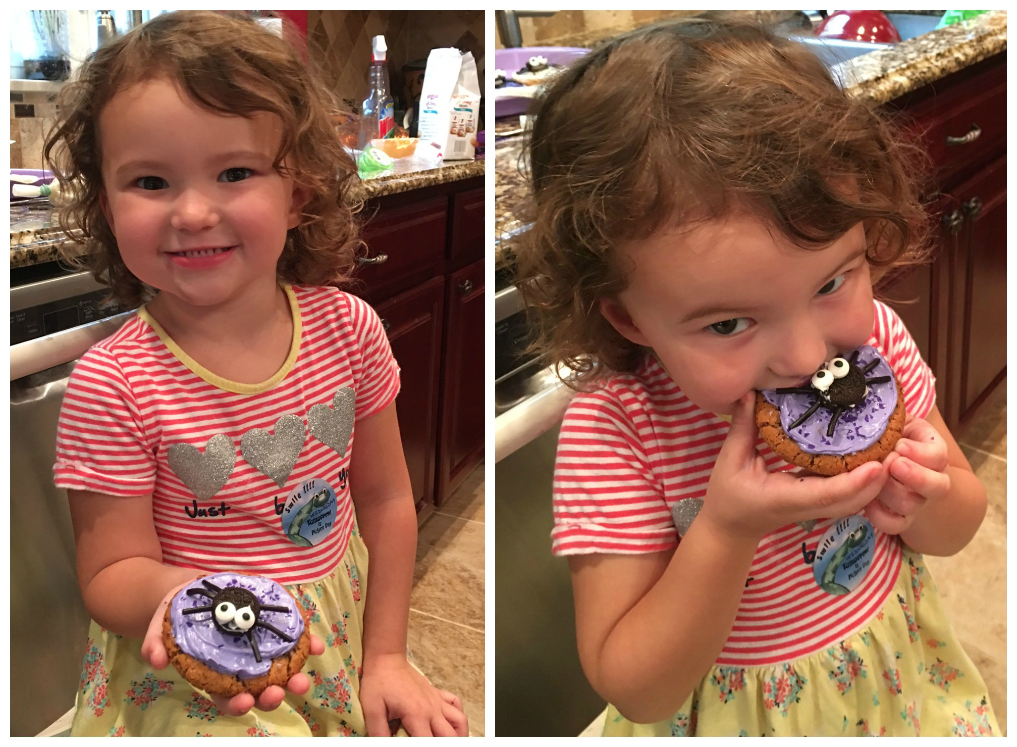 My sweet granddaughter Emma and her spooky spider cookie!