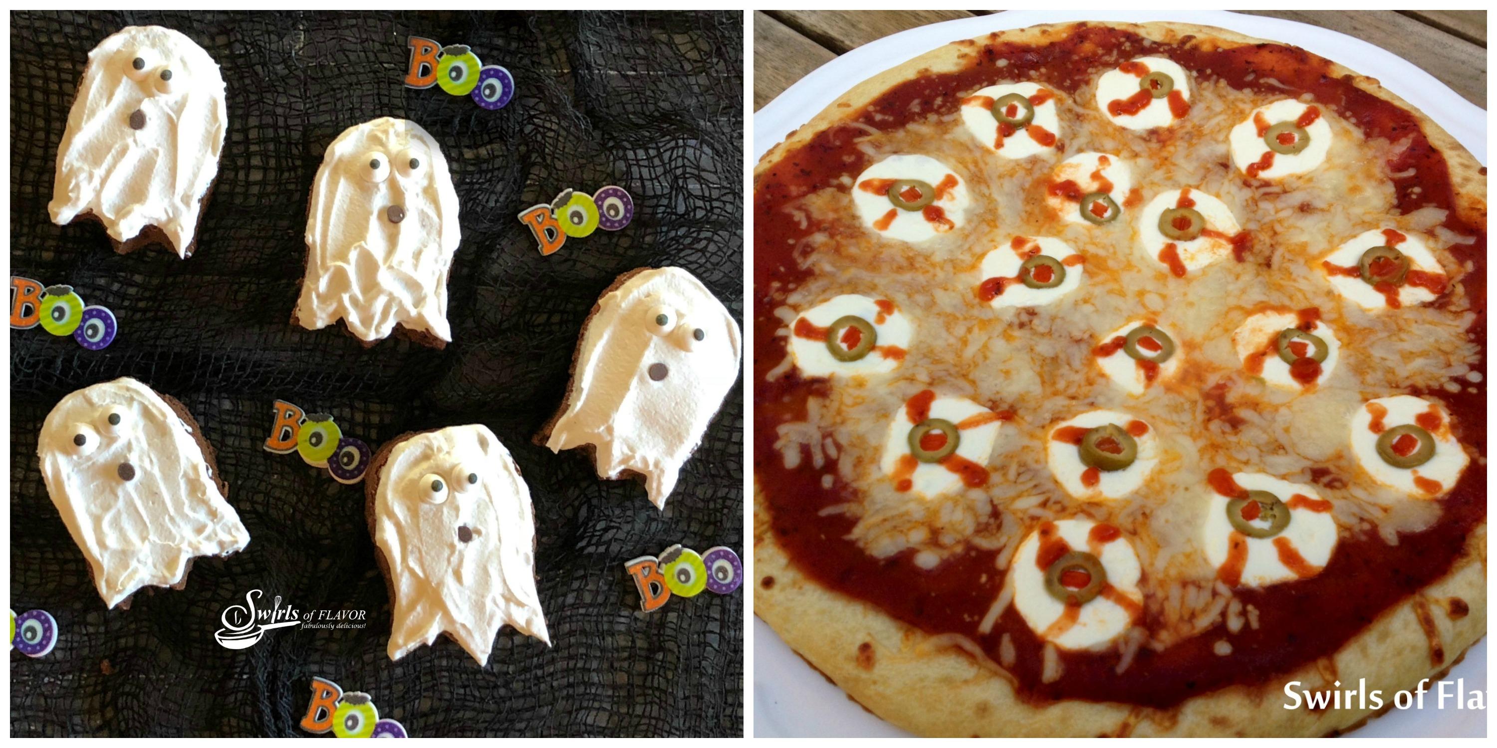 Ghost Brownies and eyeball Pizza