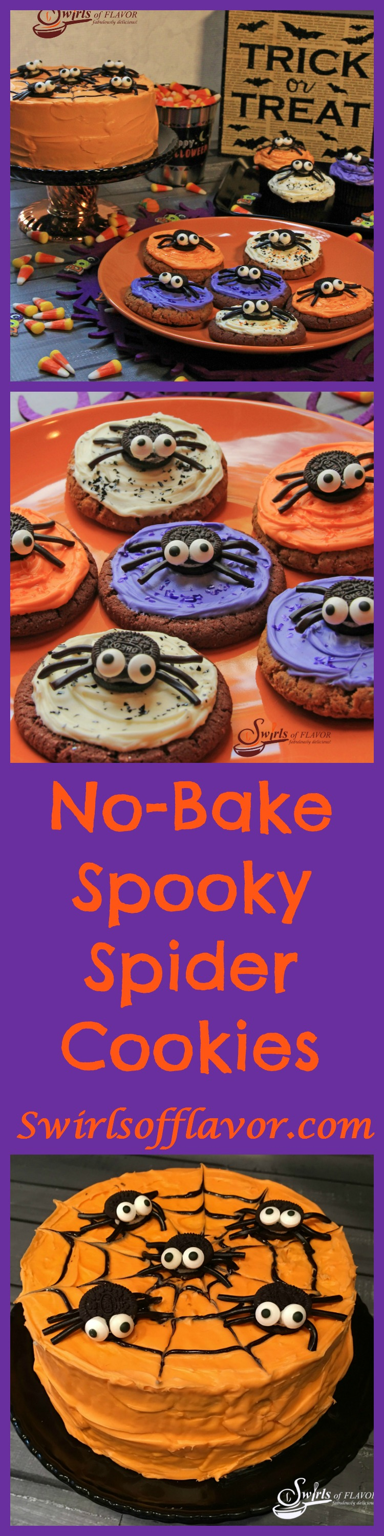 No-Bake Spooky Spider Cookies - Swirls of Flavor