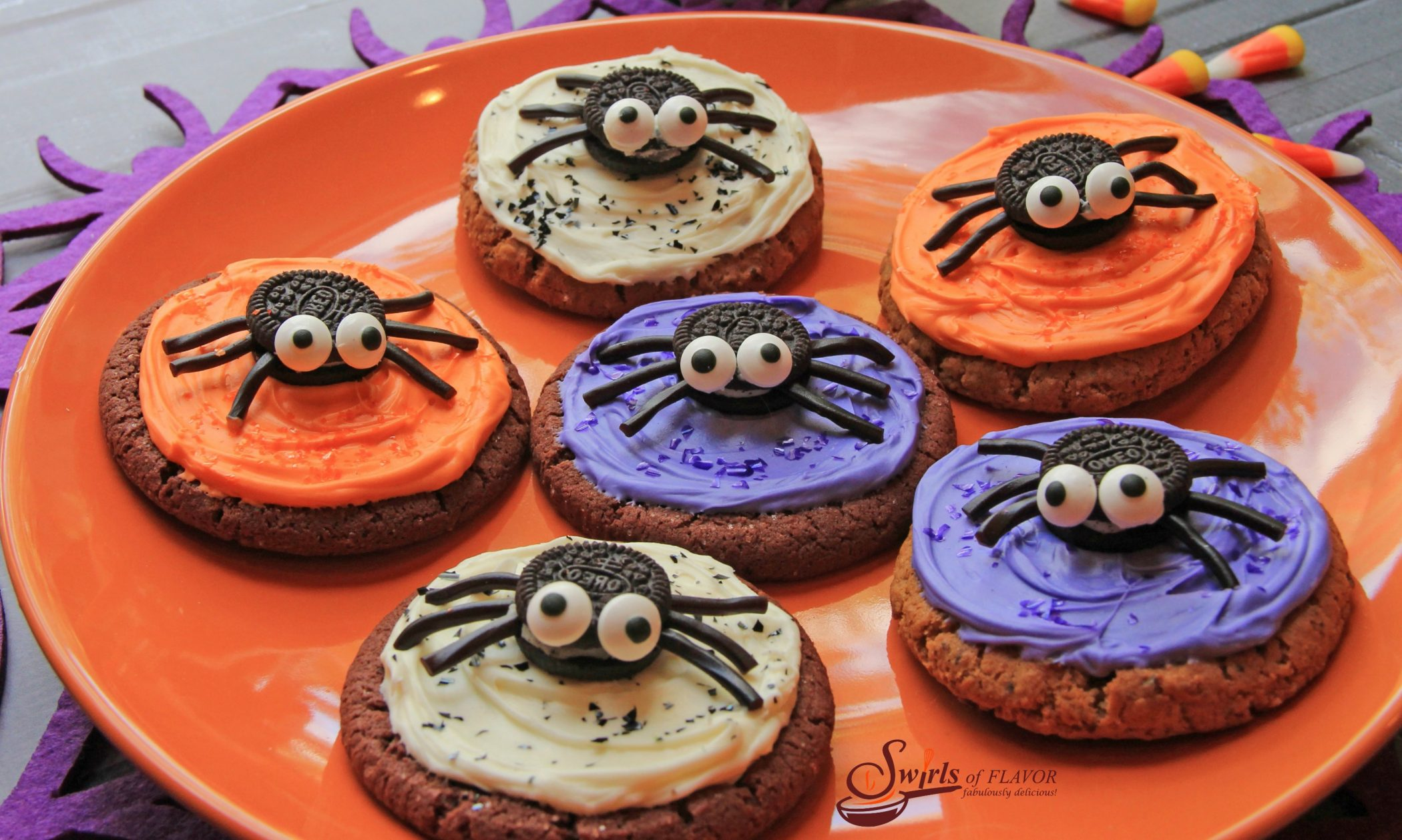 No-Bake Spooky Spider Cookies on an orange dish