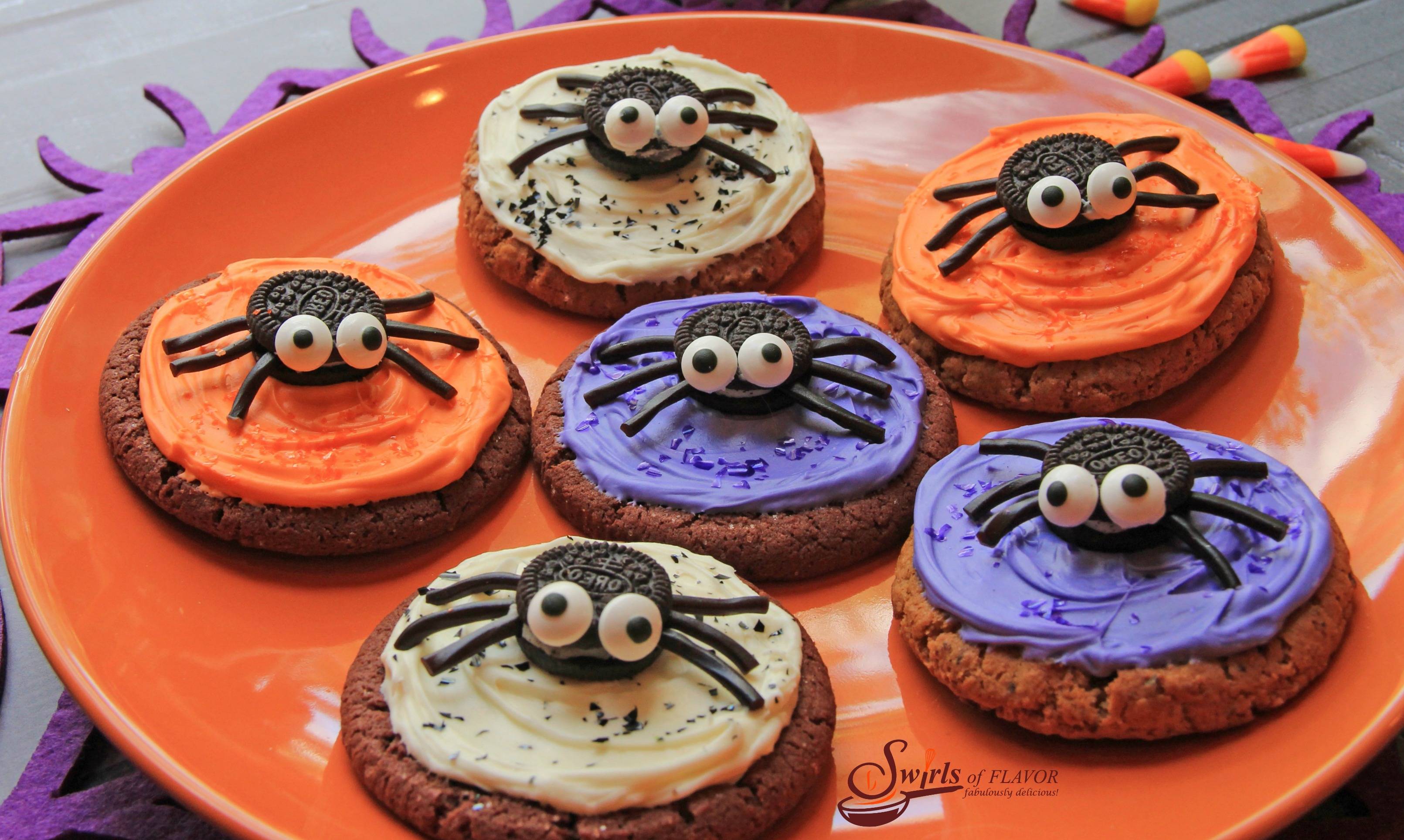 No-Bake Spooky Spider Cookies - Swirls of Flavor