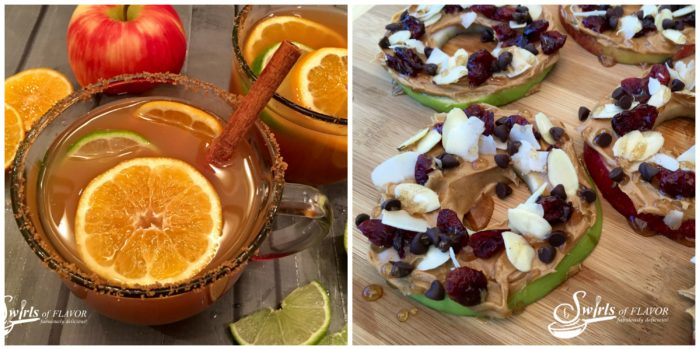 Mulled Apple Cider and peanut Butter Apple Slices