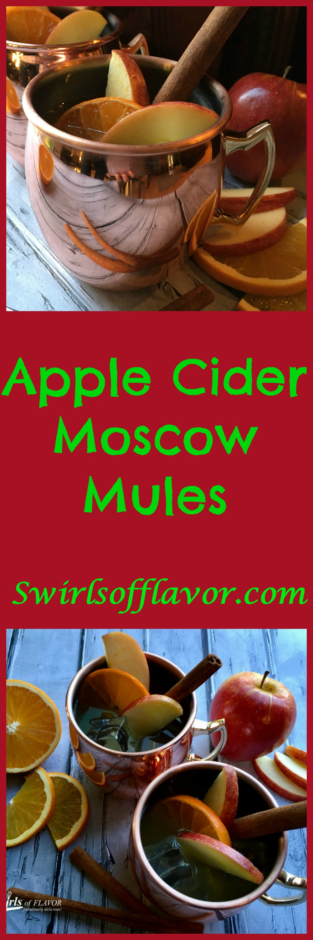 Our Apple Cider Moscow Mule cocktail recipe is a twist on this classic cocktail replacing the lime juice with seasonal apple cider and garnishing with an orange slice and a cinnamon stick stirrer! The Moscow Mule has been updated for the cool autumn weather and this trendy cocktail never tasted so good! #moscowmule #cocktail #easyrecipe #applecider #limejuice #entertaining #autumnrecipe #vodka #gingerbeer #drinks #drinkrecipe #swirlsofflavor!