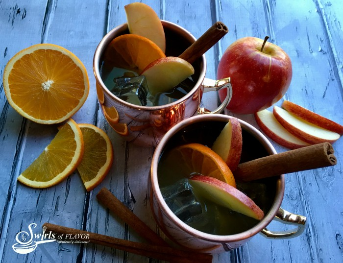 Apple Cider Moscow Mule is a twist on this classic cocktail replacing the lime juice with seasonal apple cider and garnishing with an orange slice and a cinnamon stick stirrer!