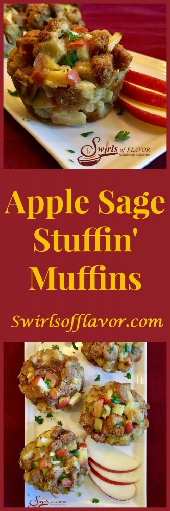 Studded with chunks of apples and flavored with fresh sage, Apple Sage Stuffin' Muffins are not only delicious they're also fun to eat for Thanksgiving!