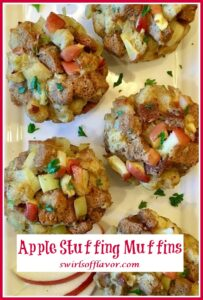 overhead photo of stuffing muffins with text overlay