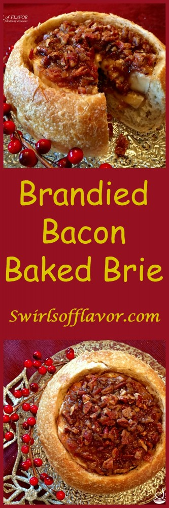 Brandied Bacon Baked Brie is a sweet and savory mixture of bacon, pecans, brown sugar, maple syrup and Brandy combined with a layer of bacon jam on a Brie cheese wheel that's nestled in a crusty bread bowl and baked into divine creaminess!