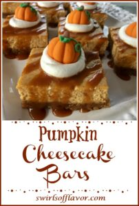 easy pumpkin spice cheesecake dessert bars with text overlay
