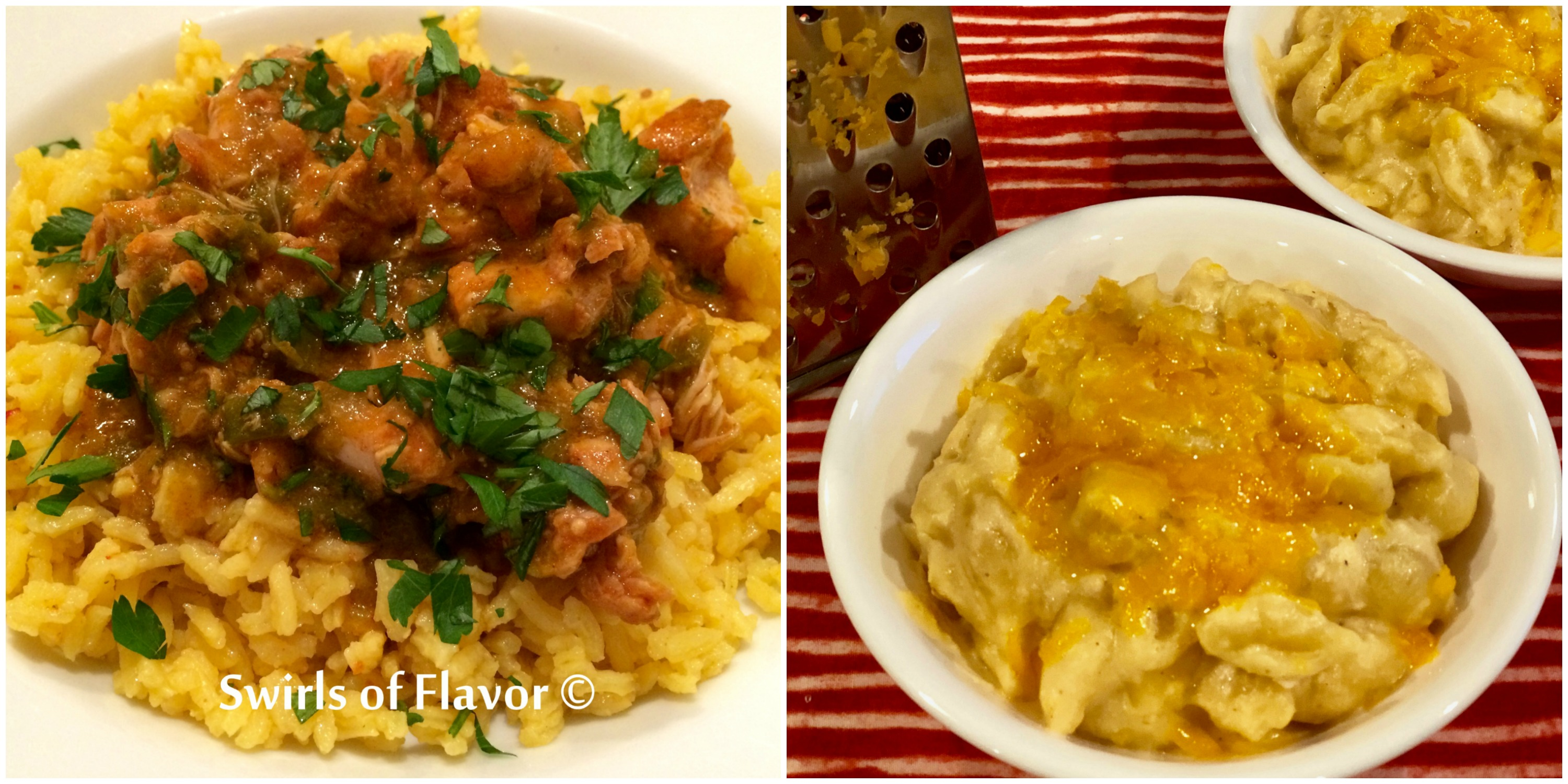 Salsa verde chicen and macaroni and cheese