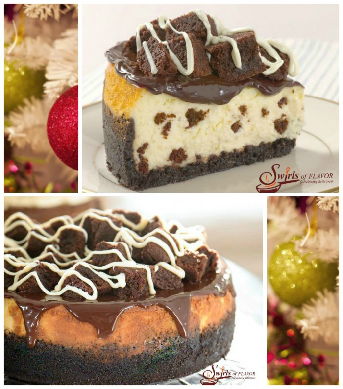 Sure to be a favorite holiday dessert, our Brownie Cheesecake has a dark chocolate crust and creamy cheesecake center flavored with bits of brownies.