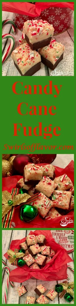 Candy Cane Fudge is the perfect holiday dessert for gift-giving and serving! A rich chocolate layer is topped with candy cane studded white chocolate making this an easy to make dessert and the perfect foodie gift!