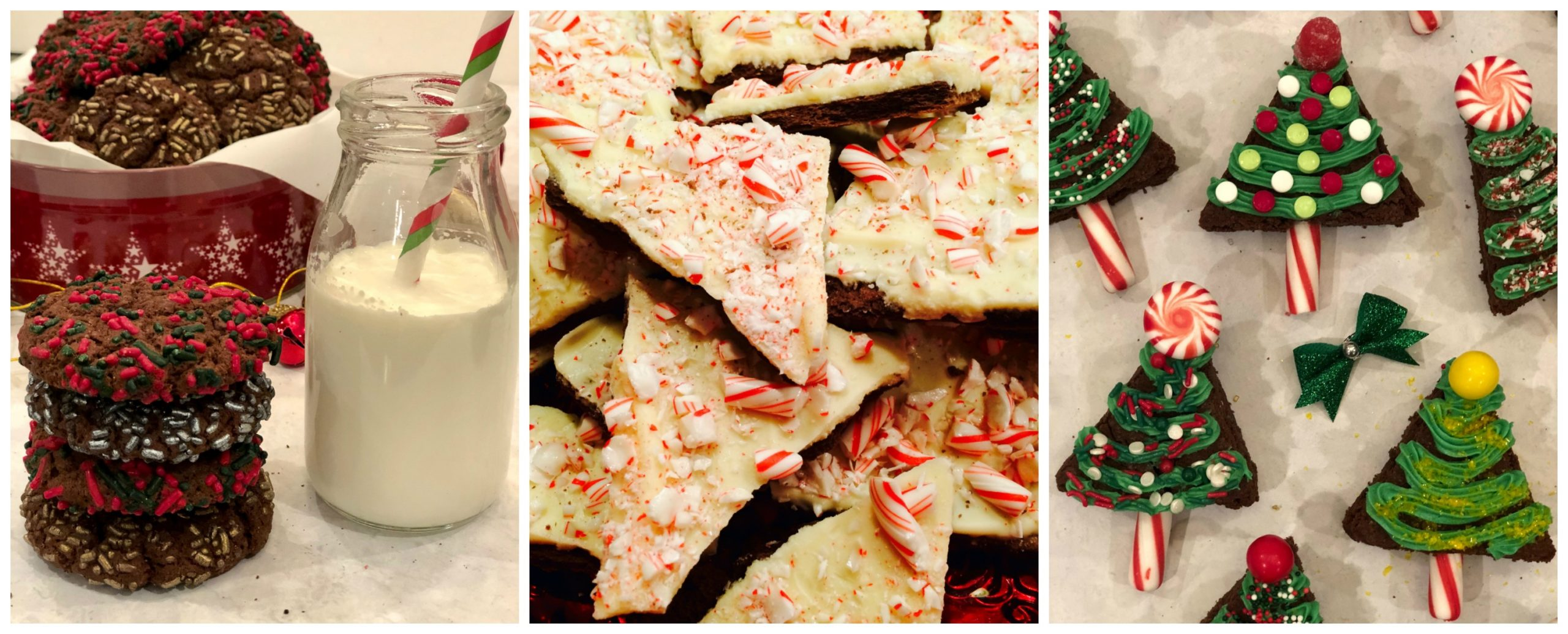 Espresso chocolate Cookies, peppermint Bark and Christmas Tree Brownies
